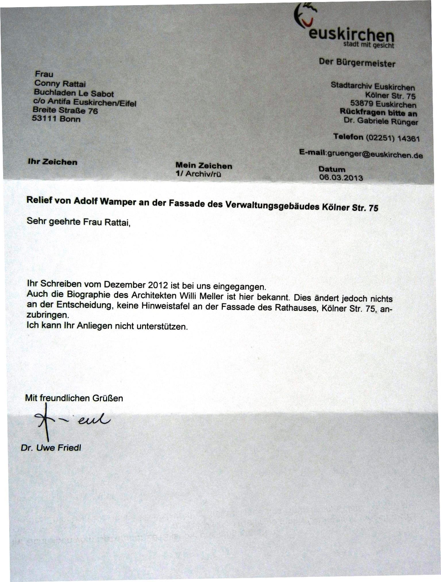 3 Brief An Bürgermeister Friedl Betr Des Relief Von Adolf Wamper