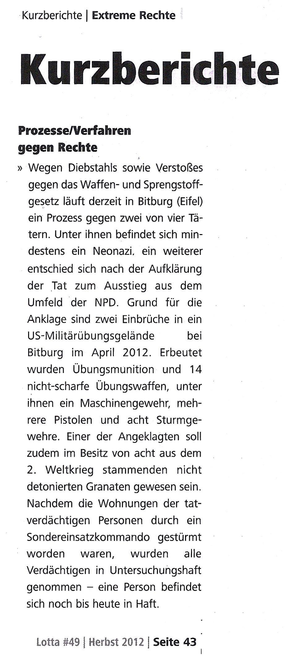 Neues aus der Eifel: Prozess gegen Neonazis in Bitburg (Eifel) wegen Diebstahls sowie Verstoßes gegen das Waffen- & Sprengstoffgesetz!