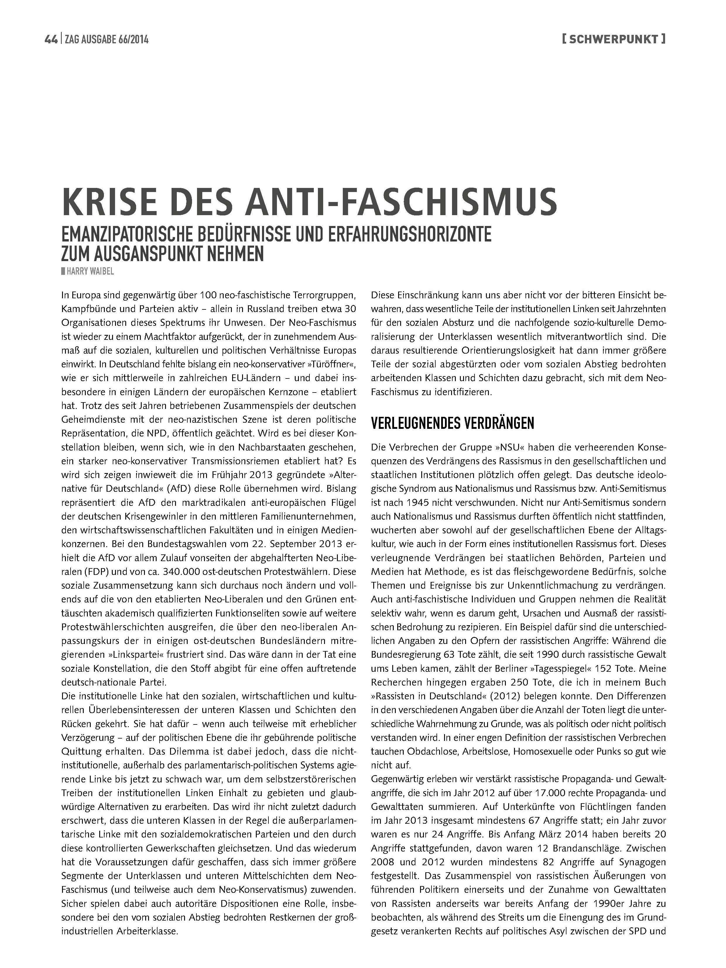 Krise des Anti-Faschismus - Emanzipatorische Bedürfnisse und die Erfahrungshorizonte zum Ausgangspunkt nehmen