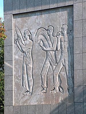 Relief Wampers an der Euskirchener Stadtverwaltung Kölner Straße / Direkt gegenüber den Amtsgericht