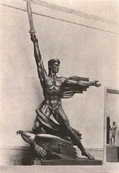 Wampers kriegsverherrlichende Skulptur Genius des Sieges